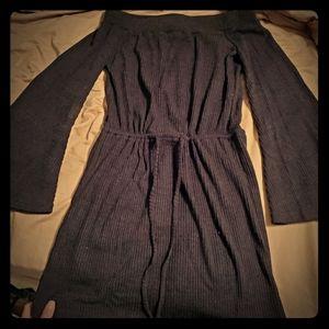 Bell sleeve drawstring waist dress